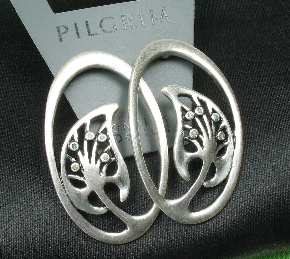PILGRIM - Nouveau - Oval Earrings Silver/Green BNWT