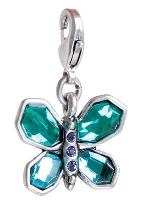 A & C 'Sweet Butterfly'  Blue/Turquoise Crystals Charm Silver Plate