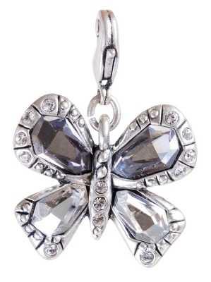 A & C 'Sweet Butterfly' Grey & Clear Crystal Charm Silver Plate