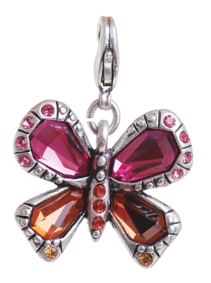 A & C 'Sweet Butterfly' Orange & Cerise Crystal Charm Silver Plate