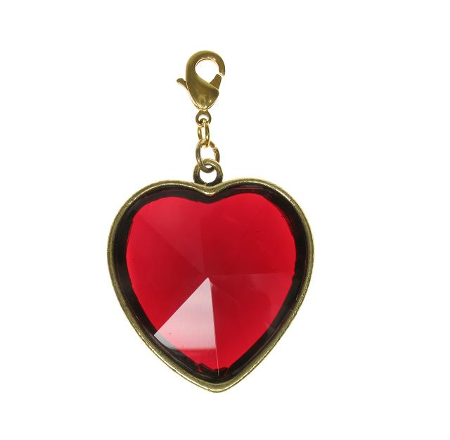Pilgrim Charm Gold & Red Faceted Chunky Crystal Heart