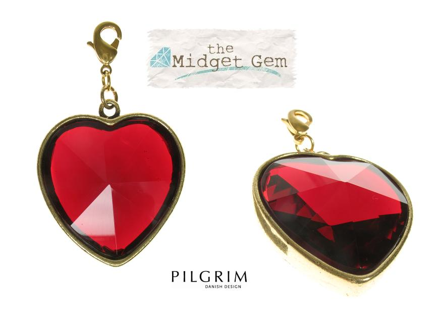 PILGRIM - Chunky Crystal Heart Charm - Gold Plate/Red BNWT