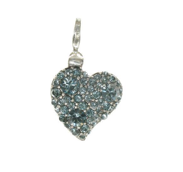 Pilgrim Charm - Swarovski Studded Heart Silver Grey/Blue Crystals