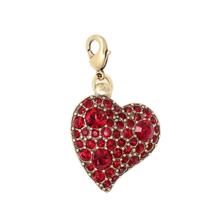 PILGRIM - Swarovski Crystal Studded Heart Charm - Red/Gold Plate BNWT