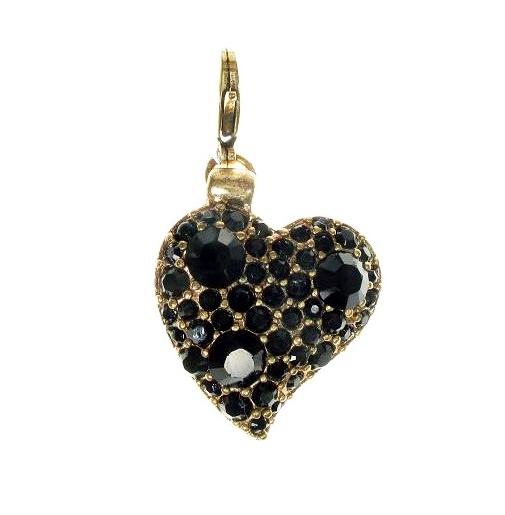 PILGRIM - Swarovski Crystal Studded Love Heart Charm - Black/Gold Plate BNWT