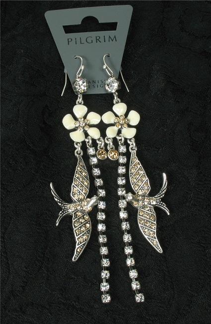 PILGRIM - FAVOURITES Elaborate Earrings White & Silver BNWT