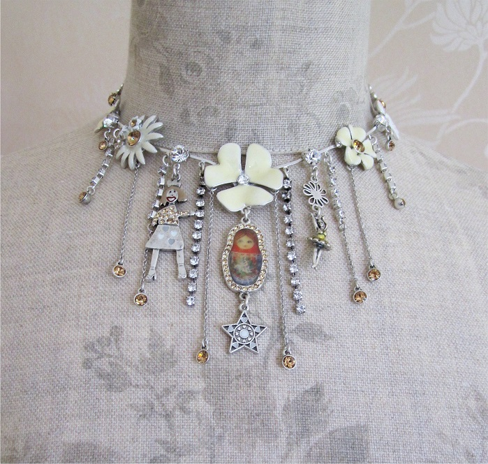 PILGRIM - FAVOURITES Elaborate Necklace White & Silver BNWT