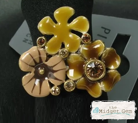 PILGRIM - FAVOURITES Adjustable Ring Brown & Gold BNWT