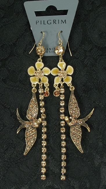 PILGRIM - FAVOURITES Elaborate Earrings Brown & Gold BNWT