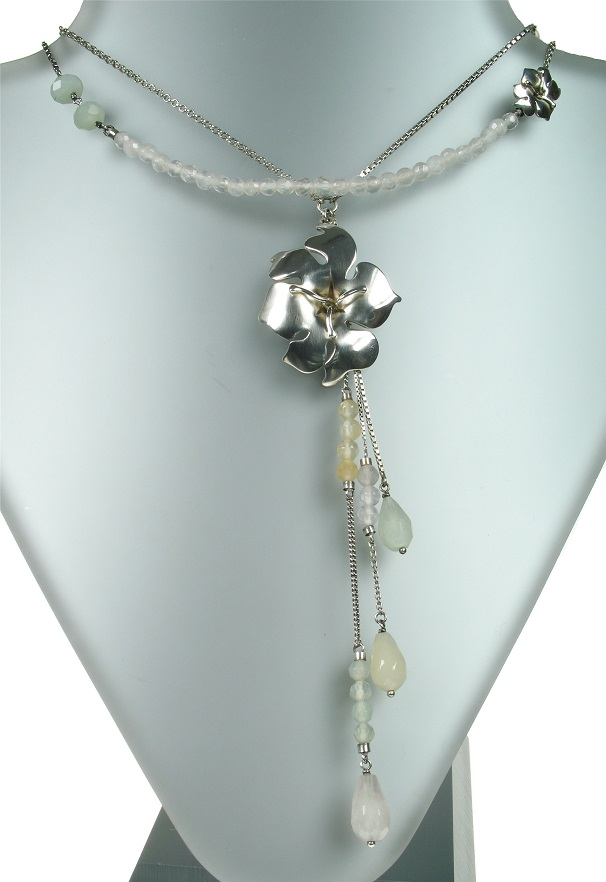 PILGRIM+ Necklace - Sterling 925 Silver Flower Quartz Beads Necklace BNWT Limited Edition