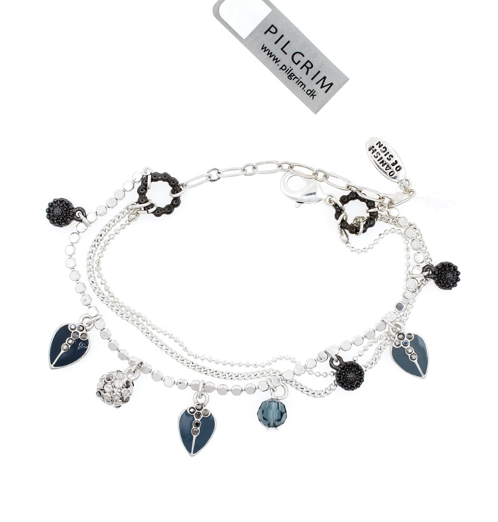 PILGRIM - Bohemian Rhapsody - Charm Bracelet - Silver Plate/Blue BNWT