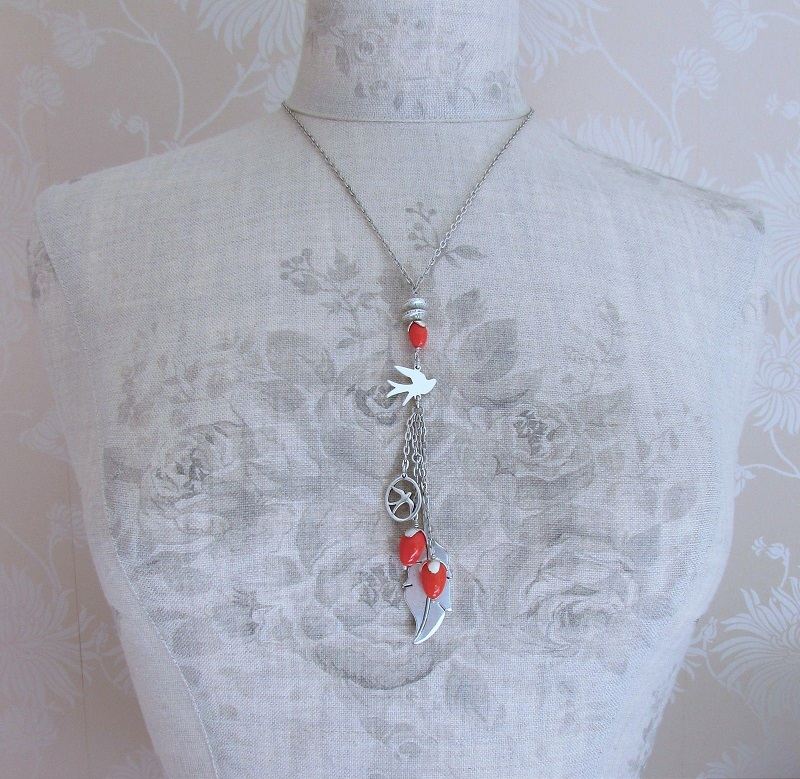 PILGRIM - Birds - Tassel Pendant Necklace - Silver/Red BNWT