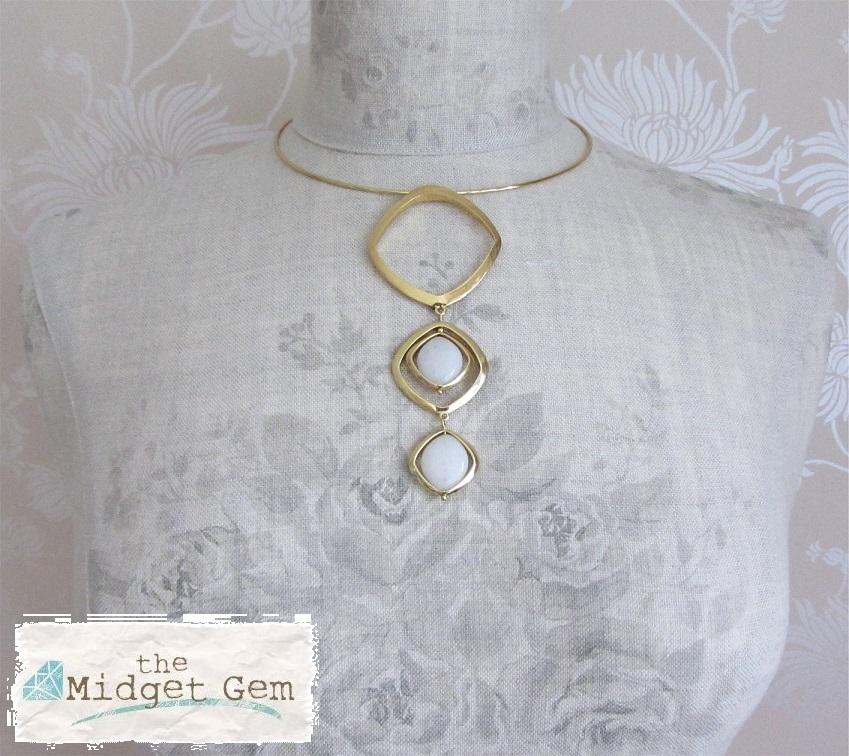 PILGRIM - SPIN - Pendant Collar Necklace - Gold/White Quartz BNWT