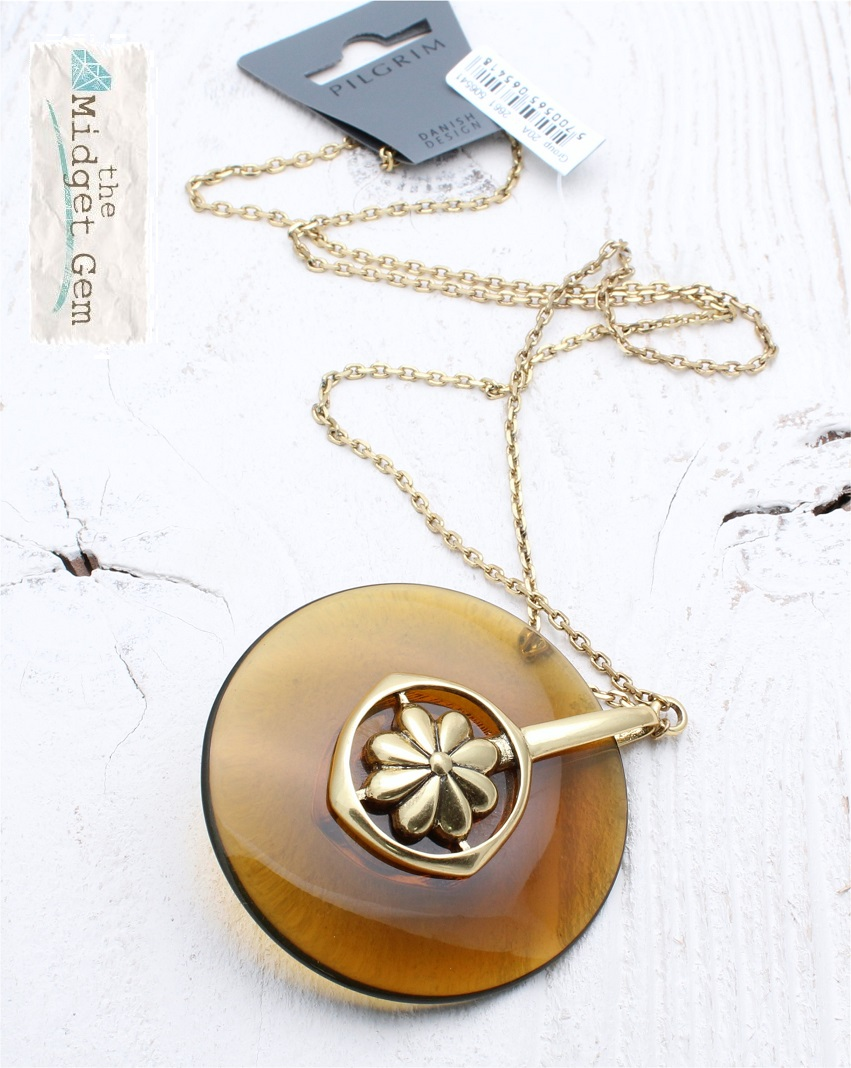 PILGRIM - Pinwheel - Caramel Acrylic Disc/Gold Long Necklace BNWT