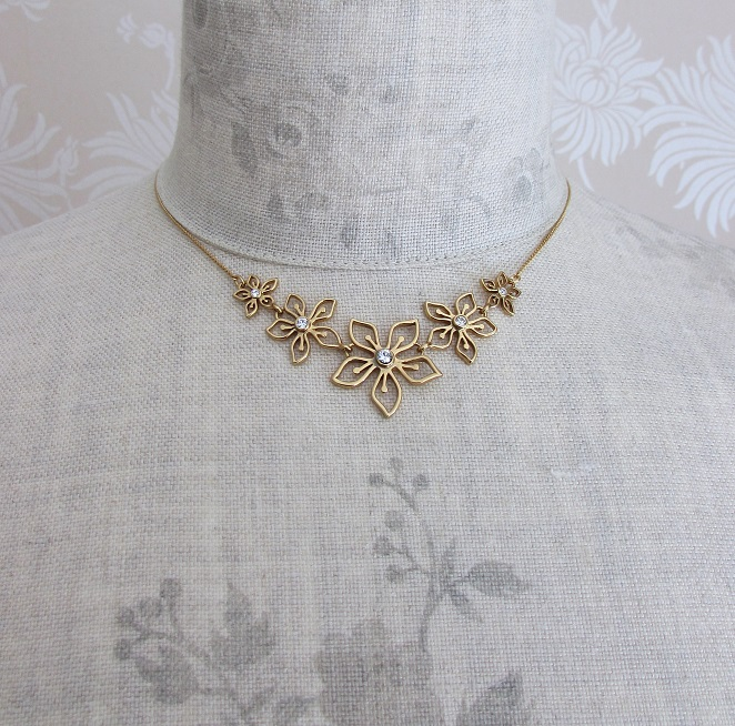PILGRIM - Delicate Flower - Floral Row Necklace - Gold Plate/Clear Swarovski BNWT