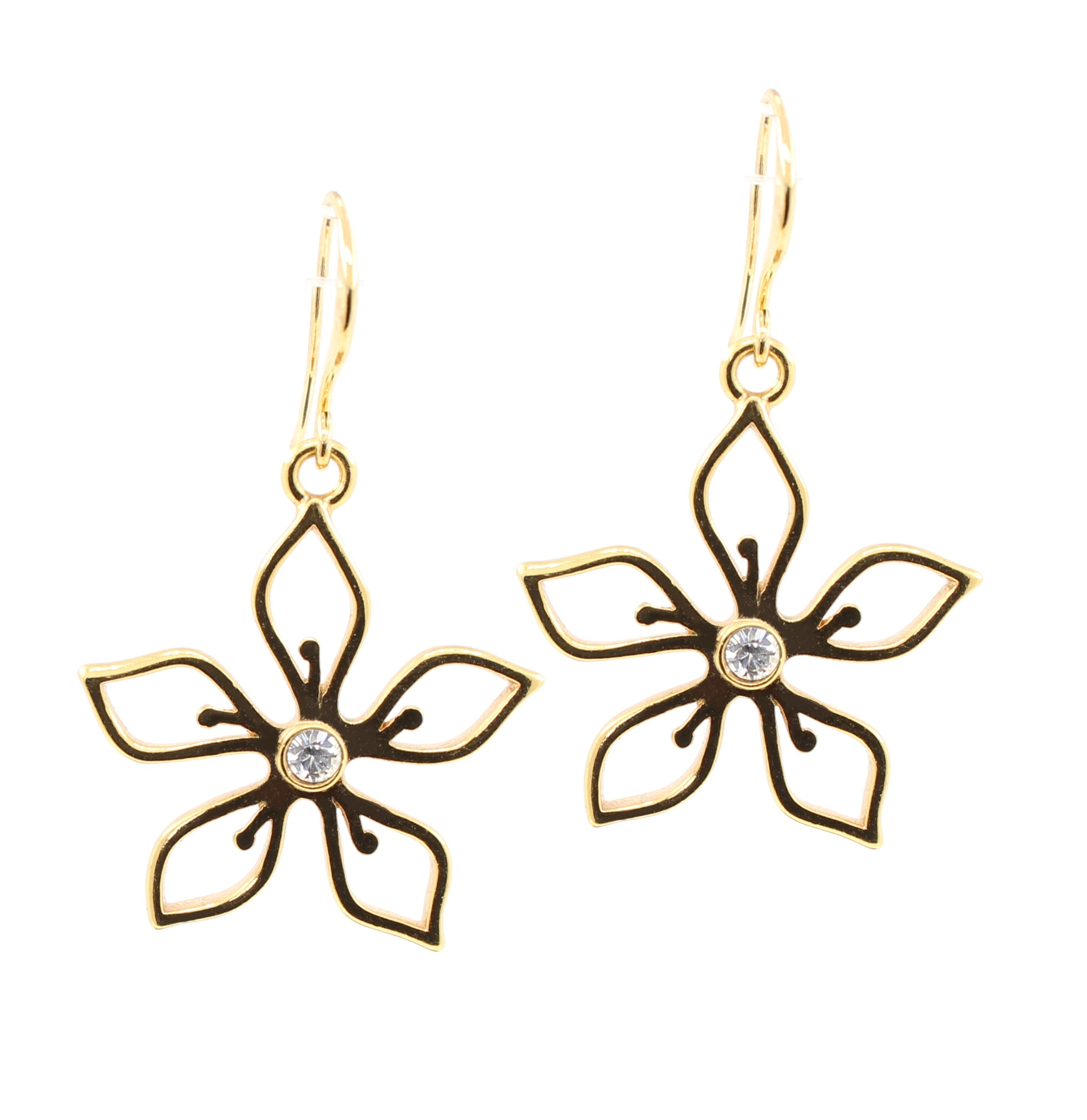 PILGRIM - Delicate Flower - Earrings - Gold Plate/Clear Swarovski BNWT