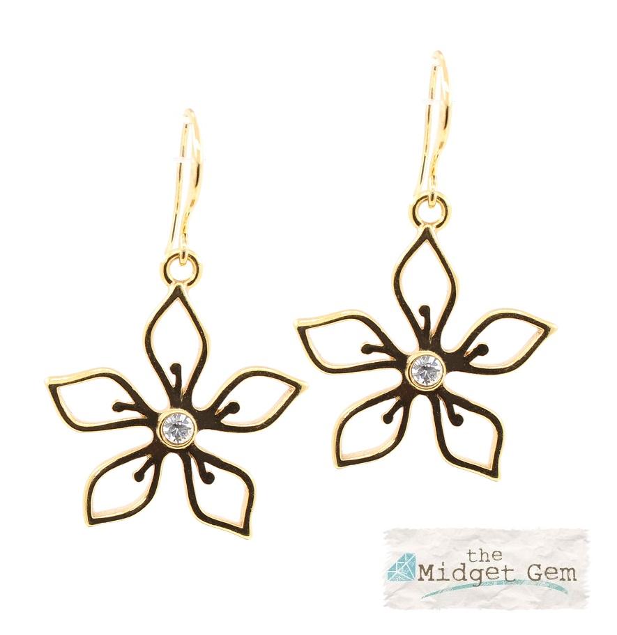 PILGRIM - Delicate Flower - Earrings - Gold Plate/Clear Swarovski BNWT
