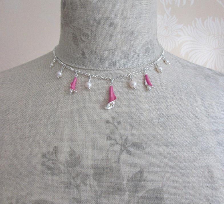 PILGRIM - Calla - Calla Lily Drop Necklace - Silver Plate/Pink & White Pearl BNWT