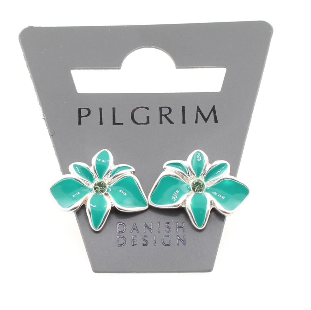PILGRIM - Sweet Sensation - Orchid Stud earrings - Silver/Green BNWT