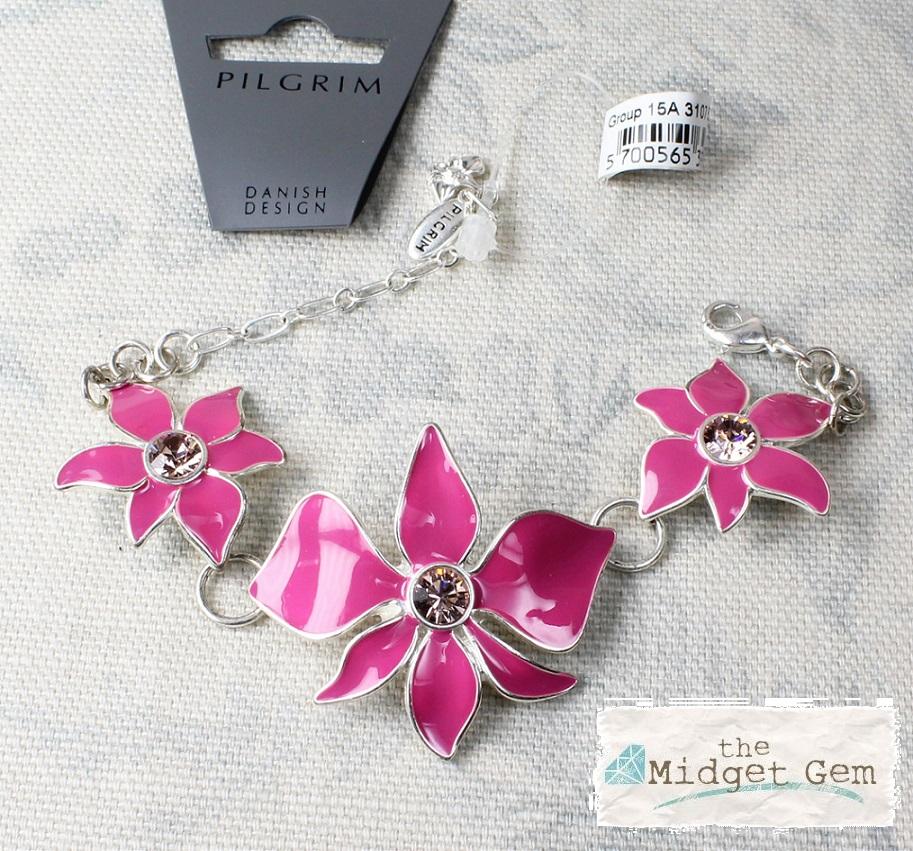 PILGRIM - Sweet Sensation Orchid Flower Bracelet - Silver/Pink BNWT
