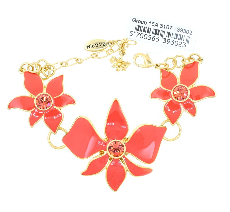 PILGRIM - Sweet Sensation Orchid Flower Bracelet - Gold/Coral BNWT