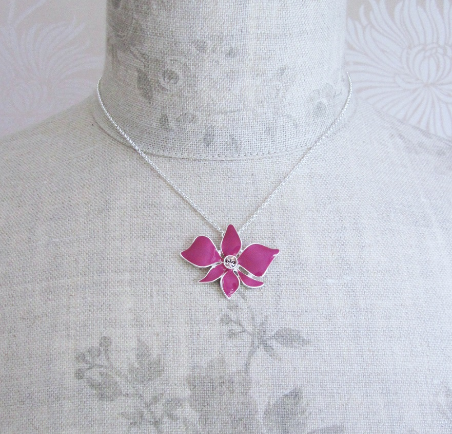 PILGRIM - Sweet Sensation Necklace - Small Orchid - Silver/Pink BNWT