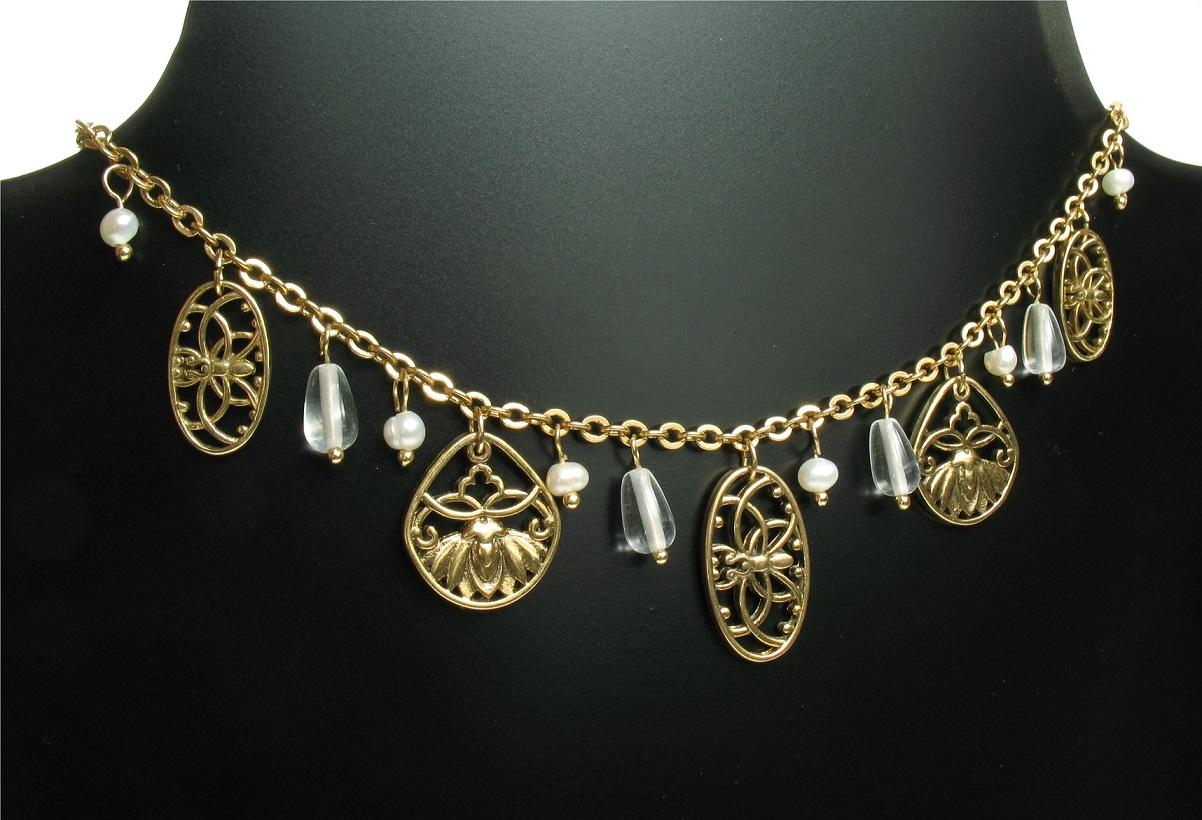 PILGRIM - Filigree Summer - Flower & Crystal Charm Necklace - Gold Plate/Clear BNWT