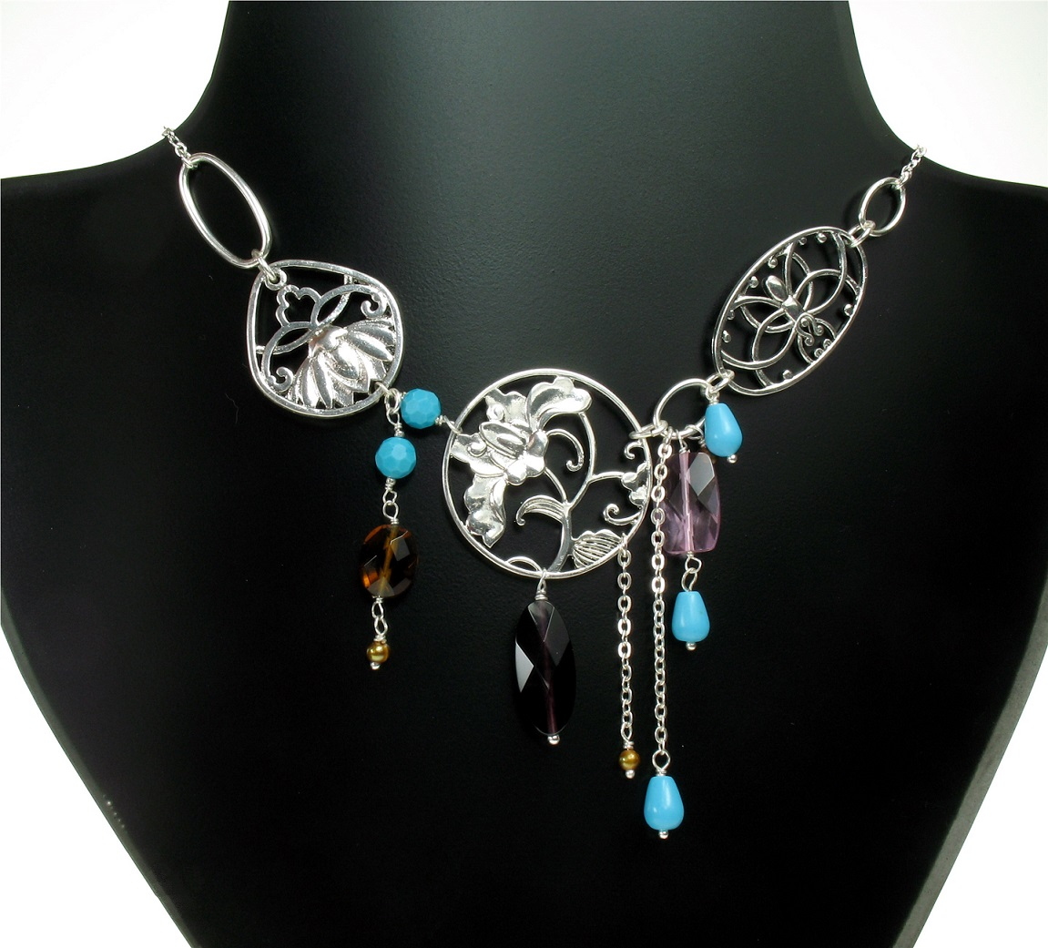 PILGRIM - Filigree Summer - Flower Panel Necklace - Silver Plate/Multi-Colours BNWT