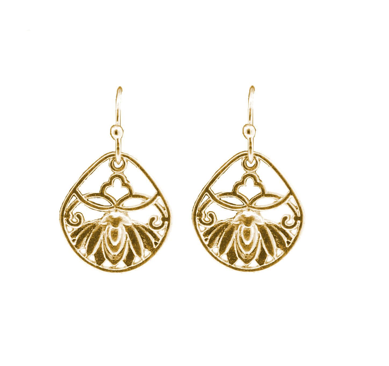 PILGRIM - Filigree Summer - Flower Panel Earrings - Gold Plate BNWT