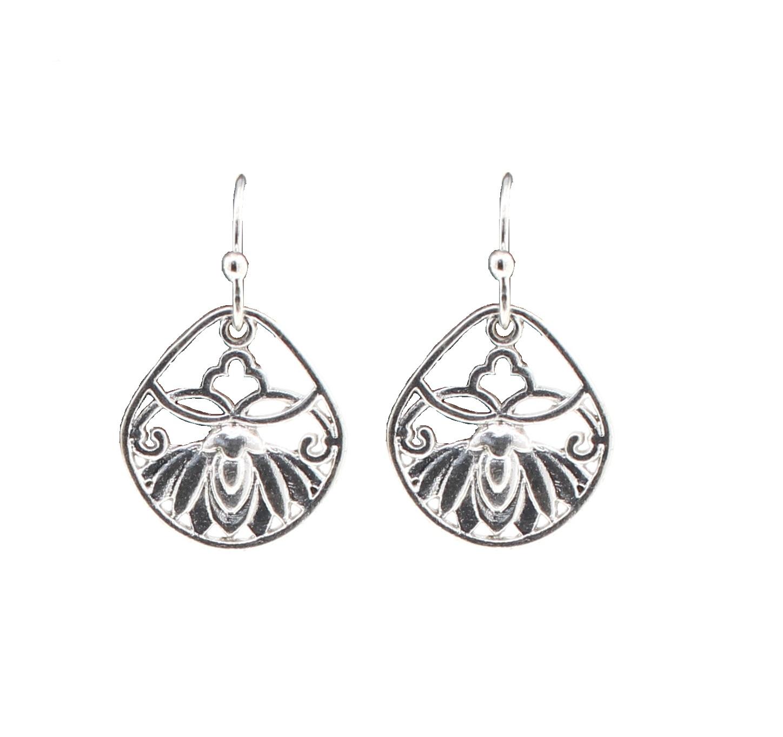 PILGRIM - Filigree Summer - Flower Panel Earrings - Silver Plate BNWT