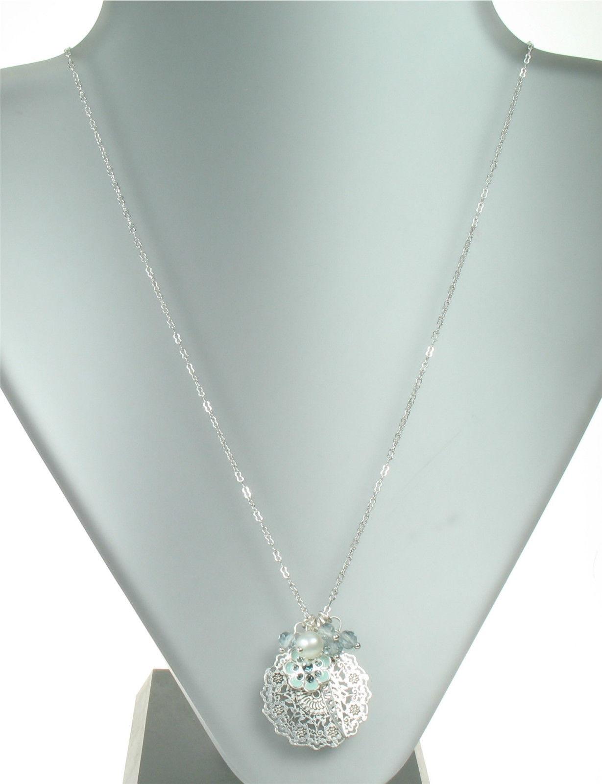 PILGRIM - Bohemian - Flower & Leaf Charm Disc Necklace - Blue/Silver Plate BNWT
