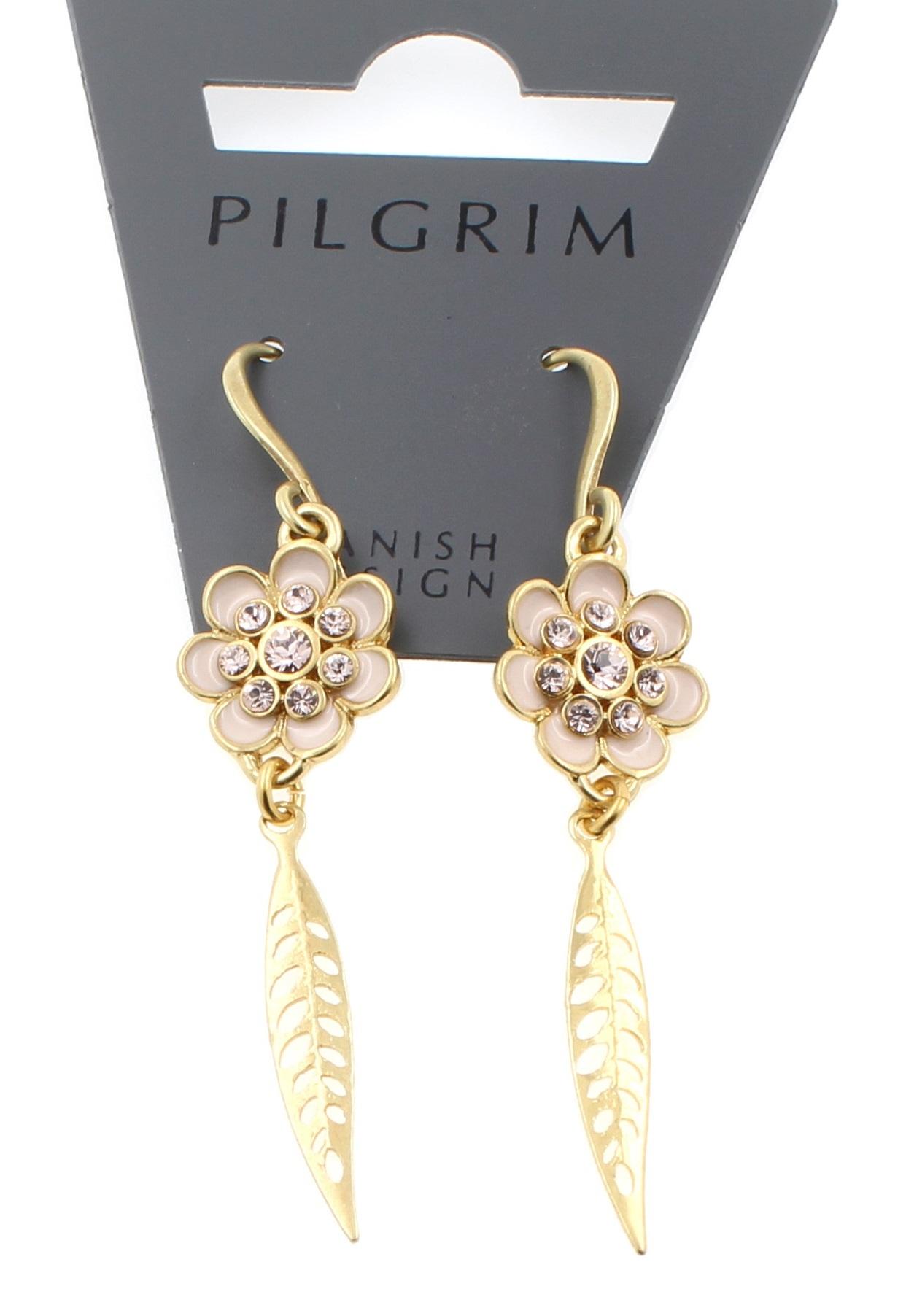 PILGRIM - Bohemian - Flower & Leaf Drop Earrings - Pink/Gold Plate BNWT