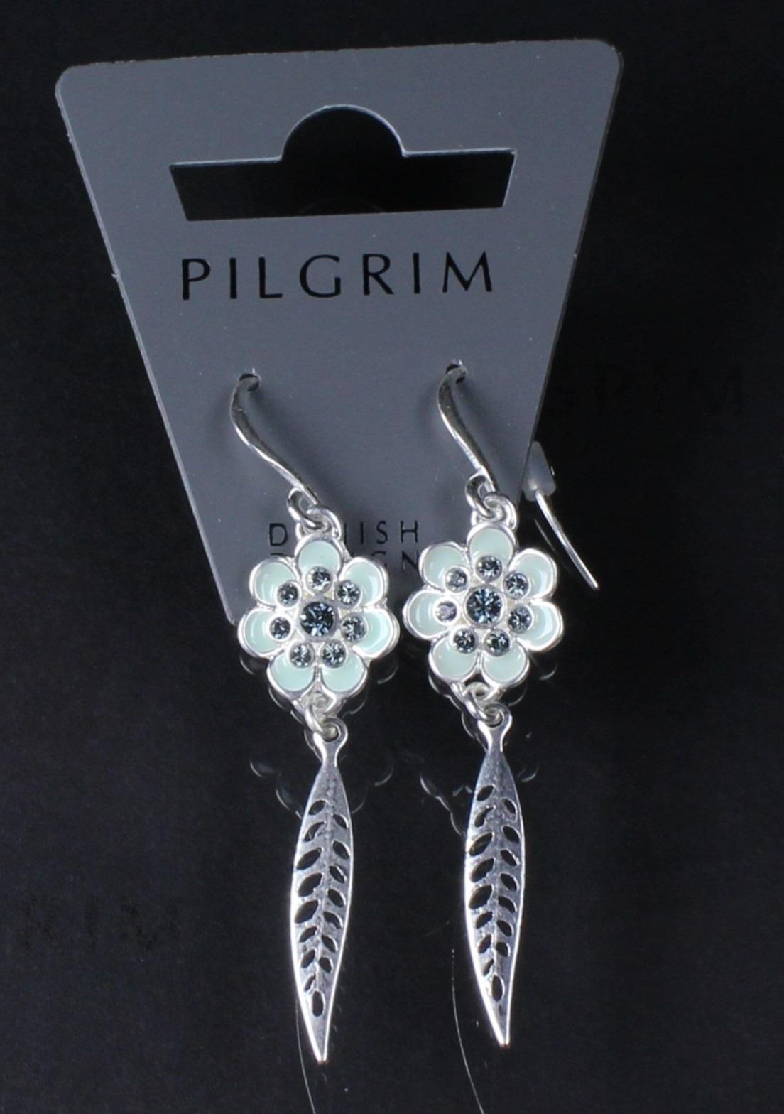 PILGRIM - Bohemian - Flower & Leaf Drop Earrings - Blue/Silver Plate BNWT