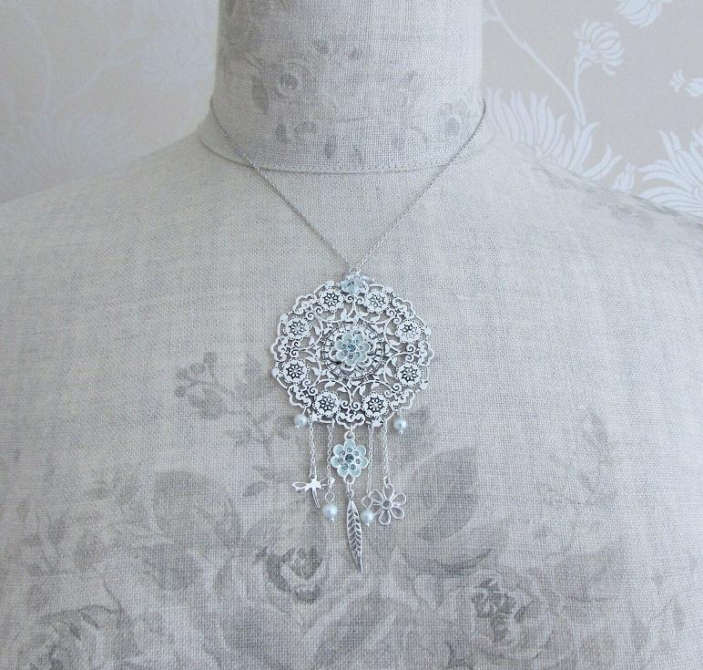 PILGRIM - Bohemian - Larger Disc Pendant Necklace - Blue/Silver Plate BNWT