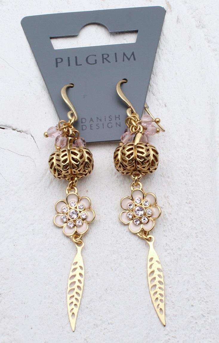 PILGRIM - Bohemian - Filigree Ball, Flower & Leaf Drop Earrings - Pink/Gold Plate BNWT