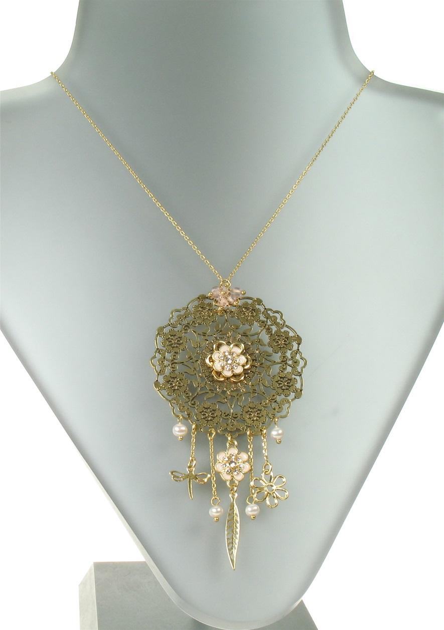 PILGRIM - Bohemian - Larger Disc Pendant Necklace - Pink/Gold Plate BNWT