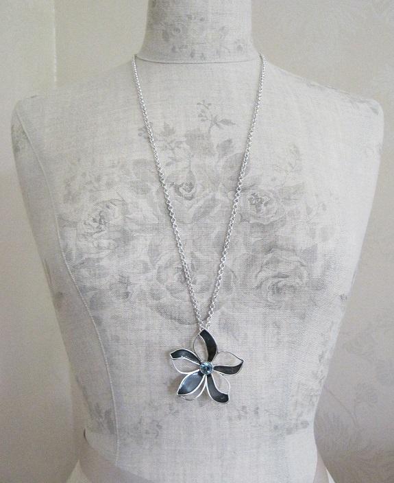 PILGRIM - Watercolour Flower - Flower Pendant Long Necklace - Blue/Silver Plate BNWT
