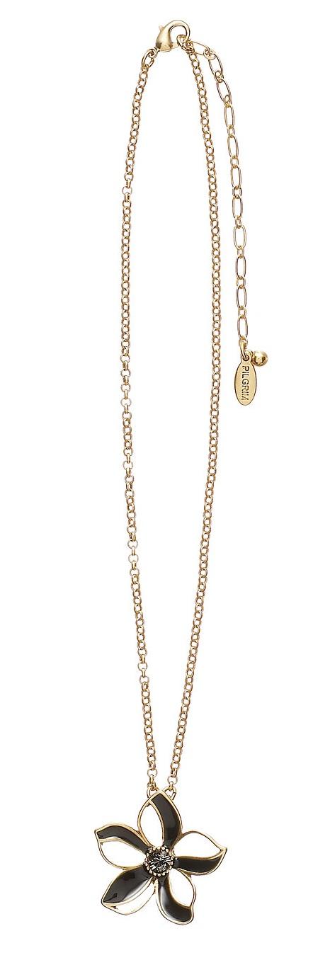 PILGRIM - Watercolour Flower - Single Small Flower Pendant Necklace - Browns/Gold Plate BNWT