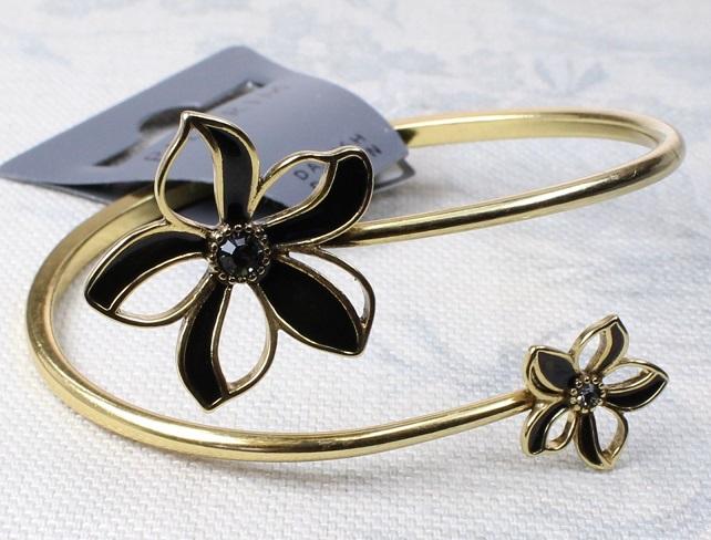 PILGRIM - Watercolour Flower - Flower Bangle - Browns/Gold Plate BNWT