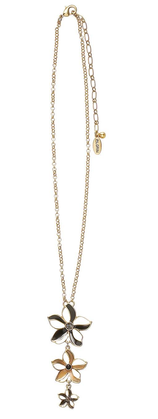 PILGRIM - Watercolour Flower - Linear Flower Pendant Necklace - Browns/Gold Plate BNWT