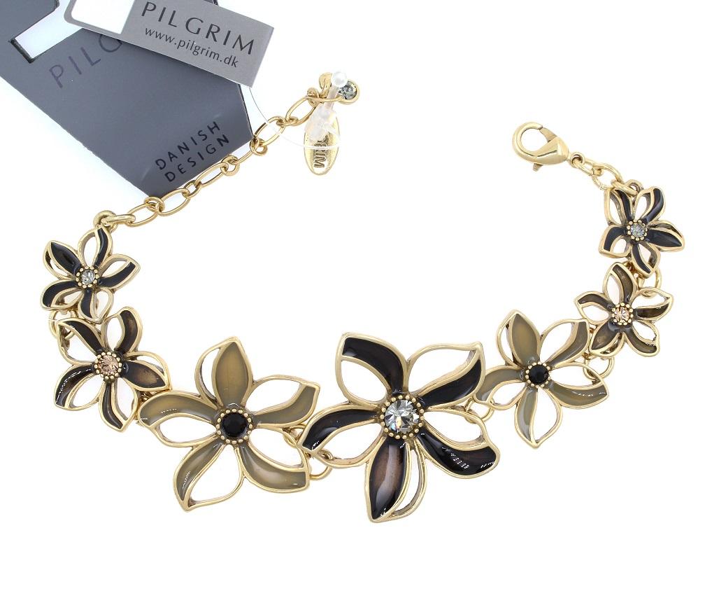 PILGRIM - Watercolour Flower - Flower Link Bracelet - Browns/Gold Plate BNWT