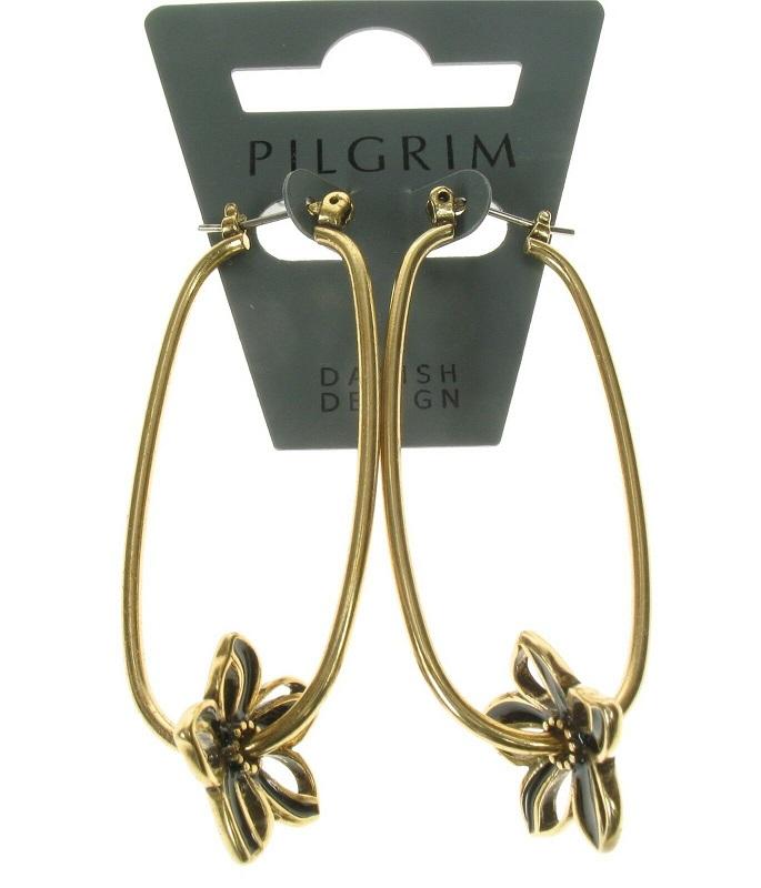 PILGRIM - Watercolour Flower - Elongated Hoop Earrings - Gold Plate/Brown BNWT
