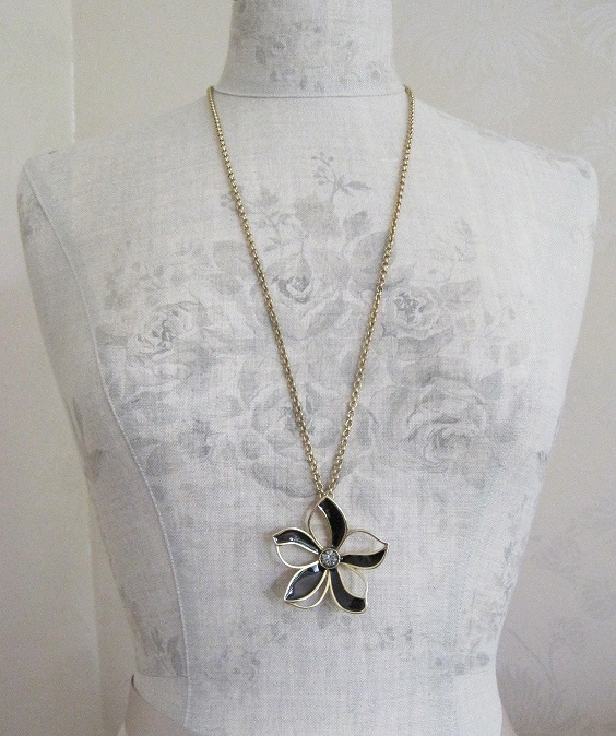 PILGRIM - Watercolour Flower - Flower Pendant Long Necklace - Brown/Gold Plate BNWT