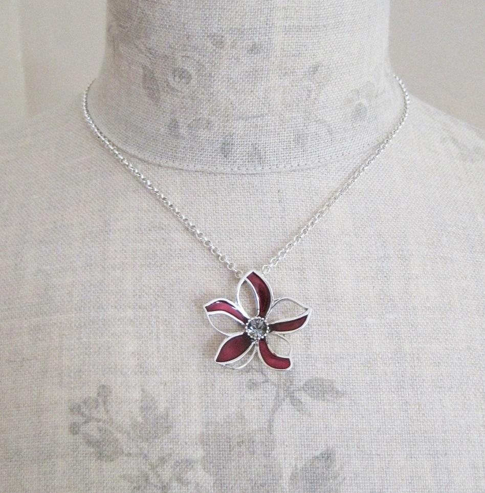 PILGRIM - Watercolour Flower - Single Small Flower Pendant Necklace - Burgundy/Silver Plate BNWT