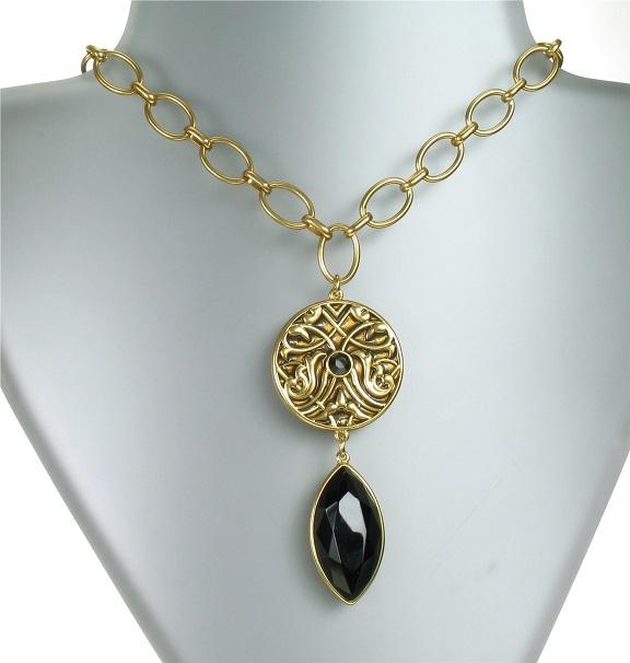 PILGRIM - Grandeur - Pendant Drop Necklace - Satin Gold Plate/Brown  BNWT