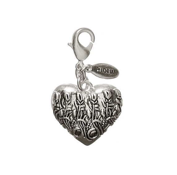 Pilgrim Charm - Art Nouveau Heart Mirror - Oxidised Silver BNWT