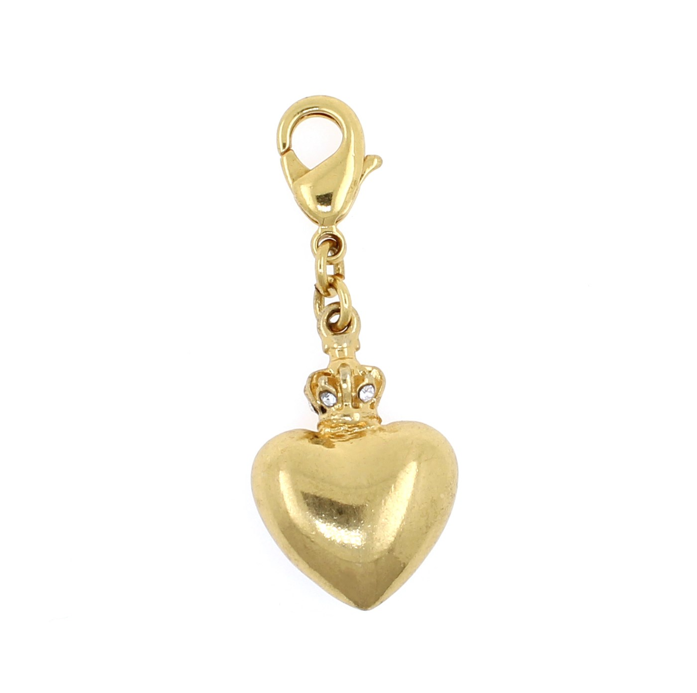 PILGRIM - Puffed Heart & Crown Charm - Clear/Gold Plate BNWT