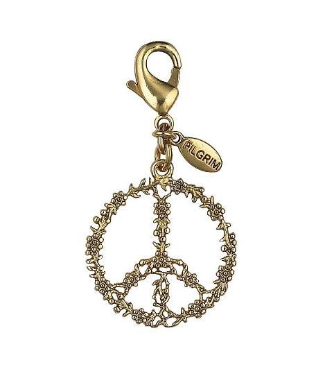 PILGRIM - Peace Symbol Flowery Charm - Gold Plate BNWT
