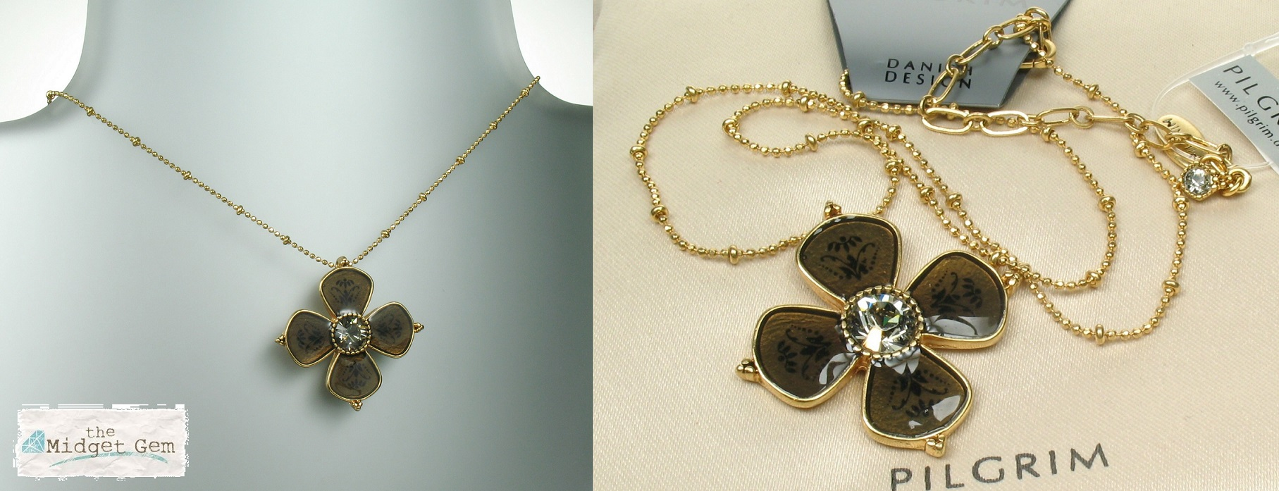 PILGRIM Necklace Devotion Flower Grey & Taupe Gold Plate BNWT