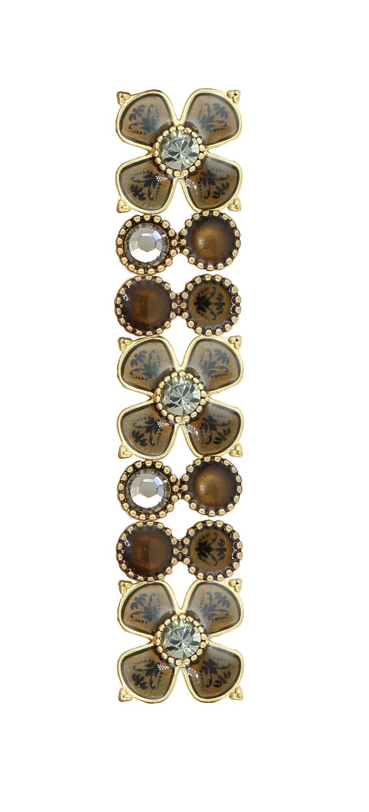PILGRIM - Devotion Flower Panel Stretch Bracelet, Taupe Enamel & Grey Crystal, Gold Plate BNWT